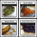 Fruits and vegetable peels plus brewed coffee ground for compost containers